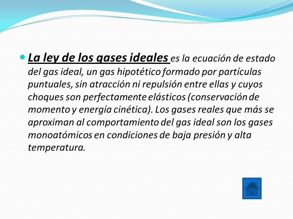 La ley de los gases ideales es la ecuación de estado del gas ideal, un gas hipotético formado por partículas puntuales, sin atracción ni repulsión entre ellas y cuyos choques son perfectamente elásticos (conservación de momento y energía cinética).