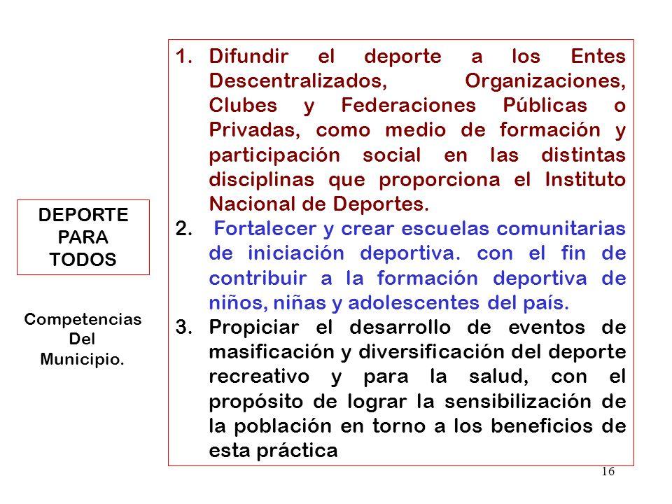 16 1.Difundir el deporte a los Entes Descentralizados, Organizaciones, Clubes y Federaciones Públicas o Privadas, como medio de formación y participac