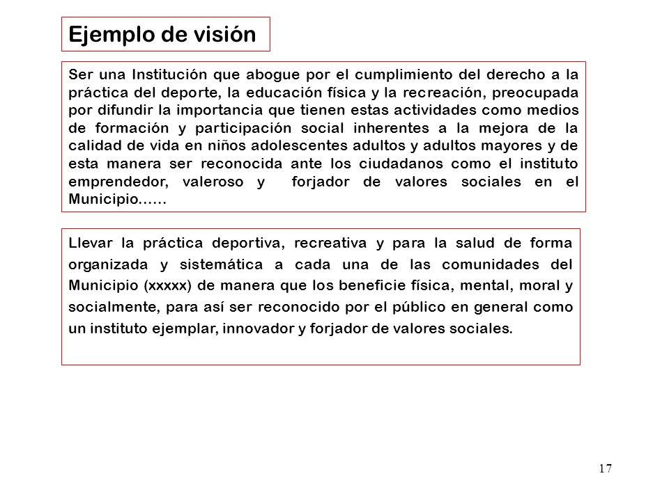 17 Ser una Institución que abogue por el cumplimiento del derecho a la práctica del deporte, la educación física y la recreación, preocupada por difun