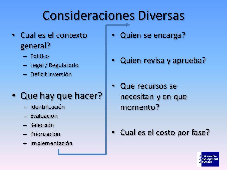 Consideraciones Diversas Cual es el contexto general? – Político – Legal / Regulatorio – Déficit inversión Que hay que hacer? – Identificación – Evalu