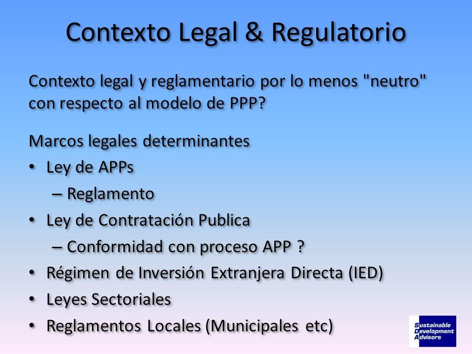 Contexto Legal & Regulatorio Contexto legal y reglamentario por lo menos