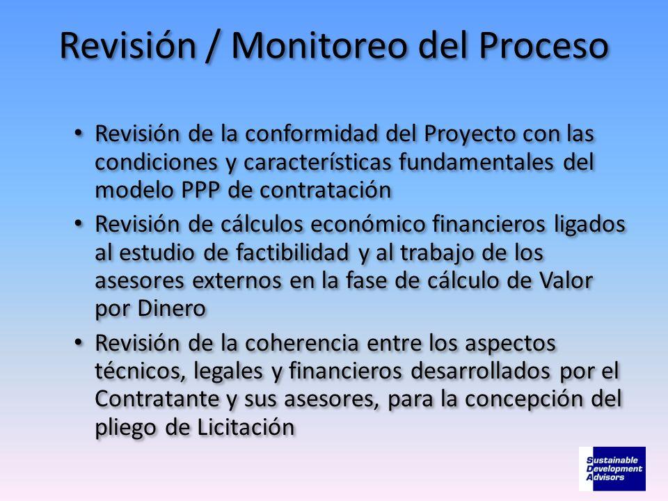 Revisión / Monitoreo del Proceso Revisión de la conformidad del Proyecto con las condiciones y características fundamentales del modelo PPP de contrat