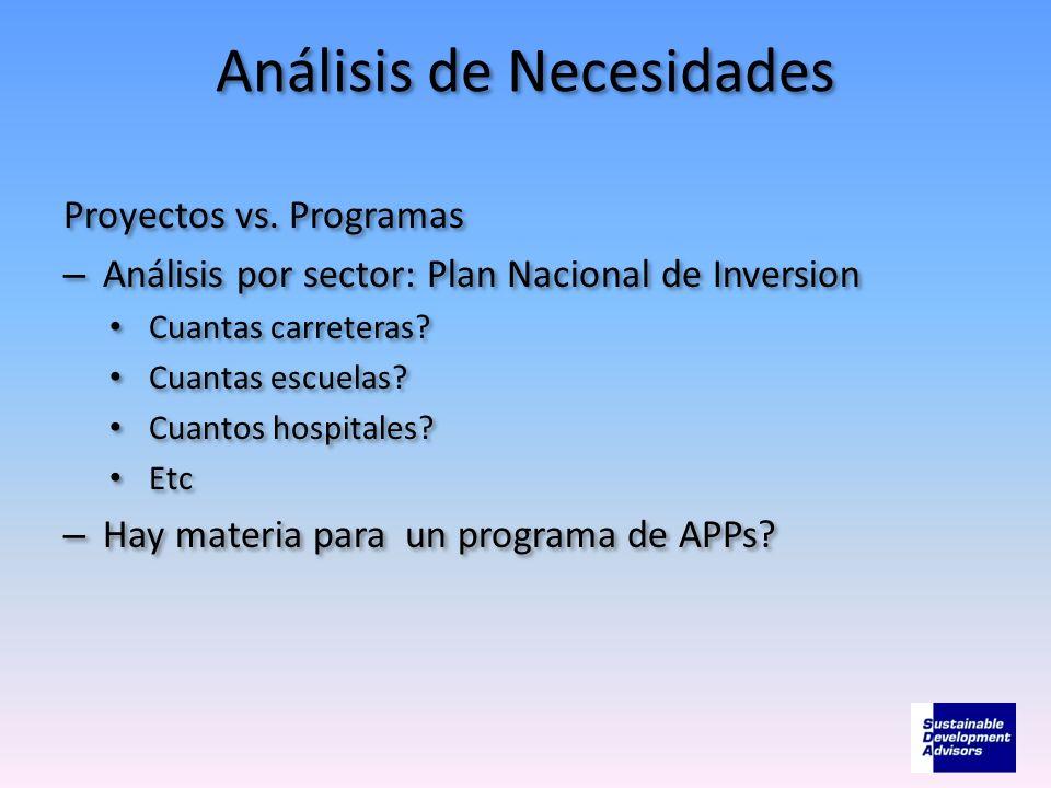Análisis de Necesidades Proyectos vs. Programas – Análisis por sector: Plan Nacional de Inversion Cuantas carreteras? Cuantas escuelas? Cuantos hospit