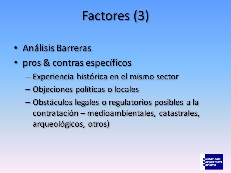 Factores (3) Análisis Barreras pros & contras específicos – Experiencia histórica en el mismo sector – Objeciones políticas o locales – Obstáculos leg