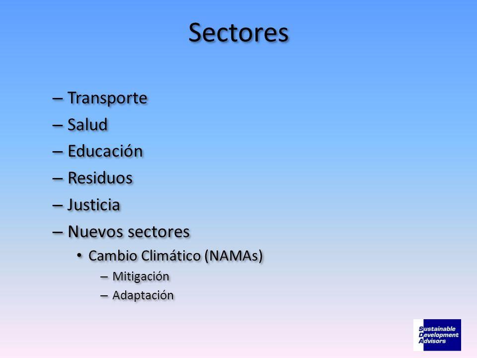 Sectores – Transporte – Salud – Educación – Residuos – Justicia – Nuevos sectores Cambio Climático (NAMAs) – Mitigación – Adaptación – Transporte – Sa