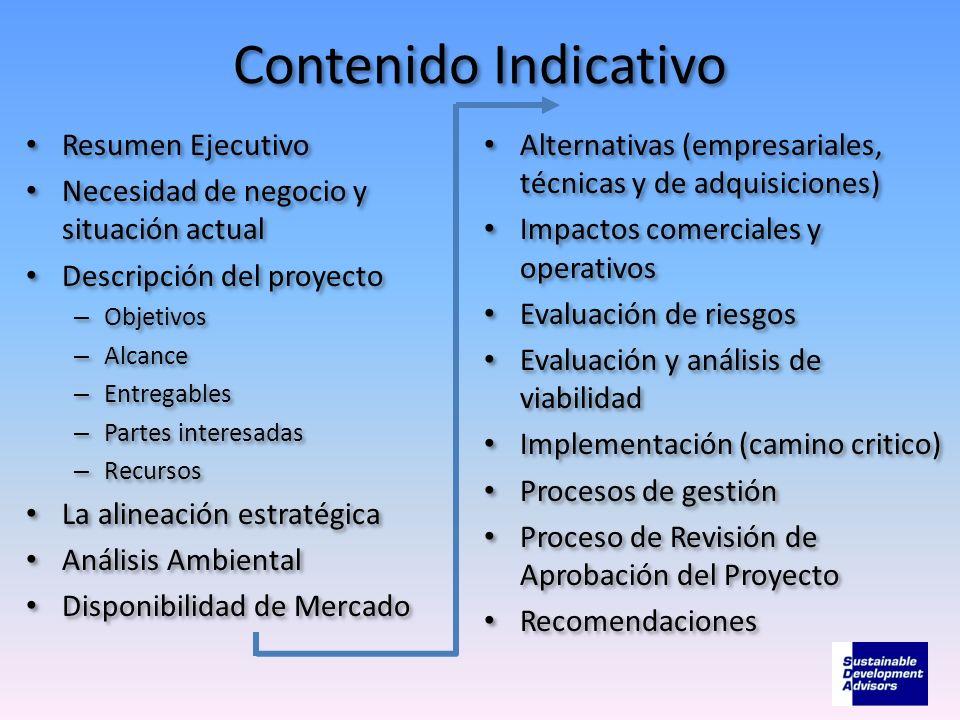 Contenido Indicativo Resumen Ejecutivo Necesidad de negocio y situación actual Descripción del proyecto – Objetivos – Alcance – Entregables – Partes i