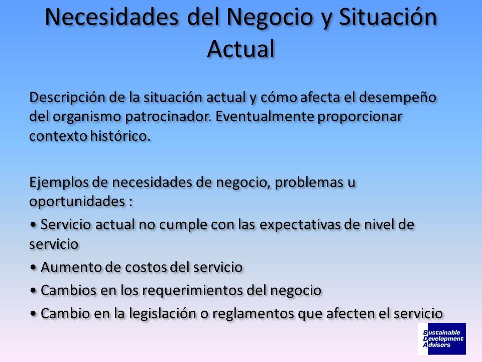 Necesidades del Negocio y Situación Actual Descripción de la situación actual y cómo afecta el desempeño del organismo patrocinador. Eventualmente pro