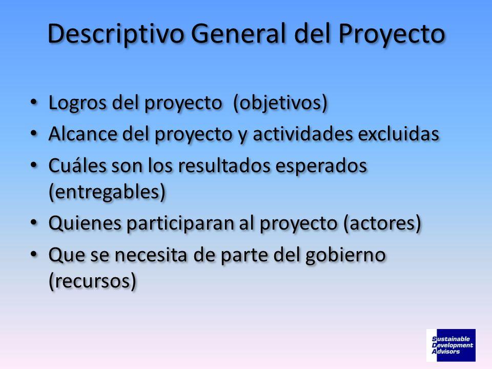 Descriptivo General del Proyecto Logros del proyecto (objetivos) Alcance del proyecto y actividades excluidas Cuáles son los resultados esperados (ent