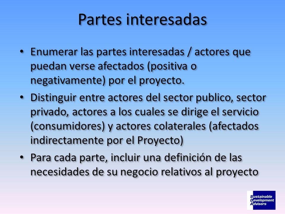 Partes interesadas Enumerar las partes interesadas / actores que puedan verse afectados (positiva o negativamente) por el proyecto. Distinguir entre a