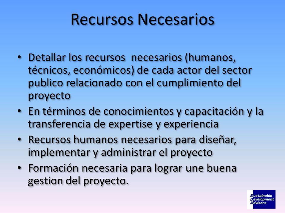 Recursos Necesarios Detallar los recursos necesarios (humanos, técnicos, económicos) de cada actor del sector publico relacionado con el cumplimiento
