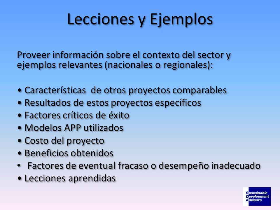 Lecciones y Ejemplos Proveer información sobre el contexto del sector y ejemplos relevantes (nacionales o regionales): Características de otros proyec