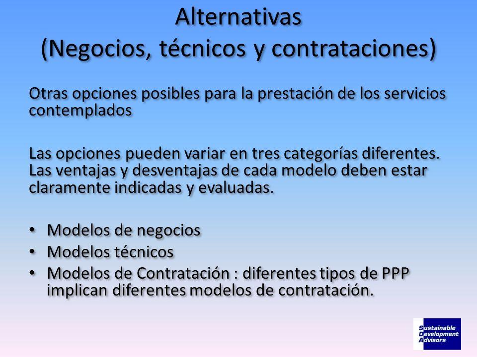 Alternativas (Negocios, técnicos y contrataciones) Otras opciones posibles para la prestación de los servicios contemplados Las opciones pueden variar