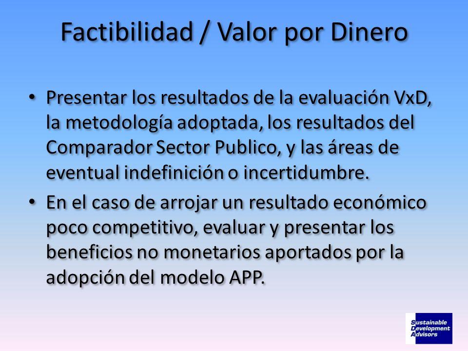 Factibilidad / Valor por Dinero Presentar los resultados de la evaluación VxD, la metodología adoptada, los resultados del Comparador Sector Publico,