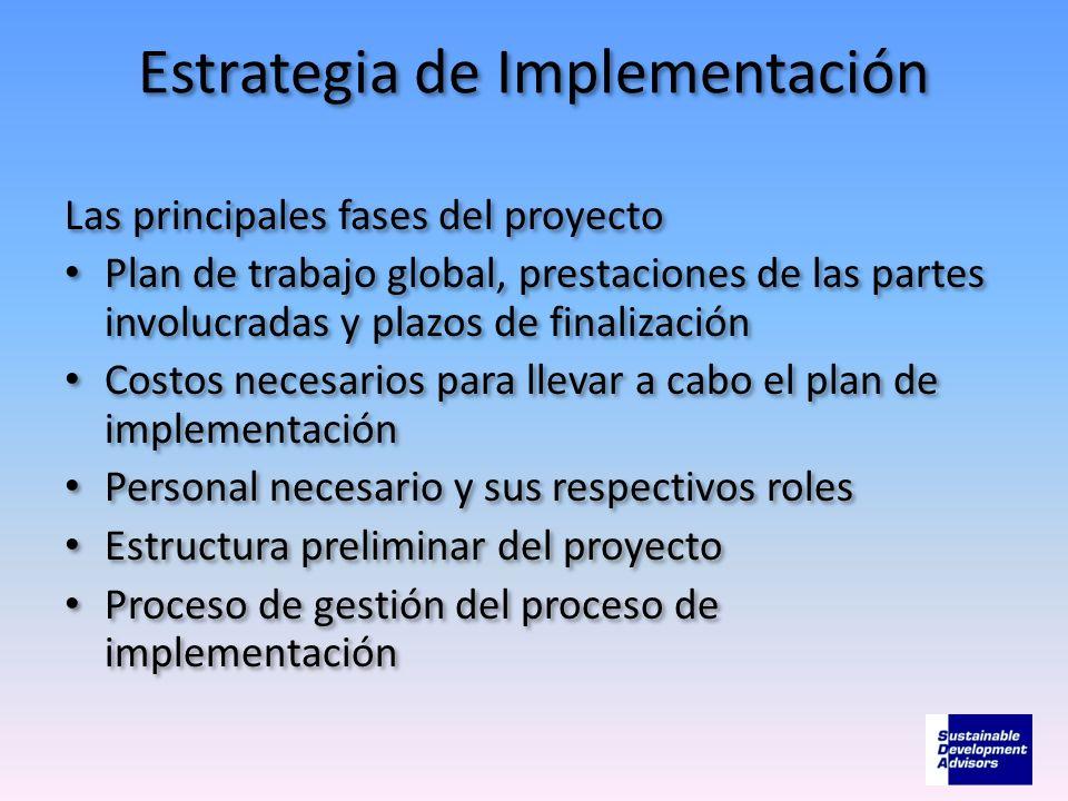 Estrategia de Implementación Las principales fases del proyecto Plan de trabajo global, prestaciones de las partes involucradas y plazos de finalizaci
