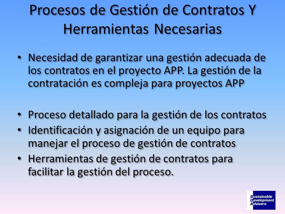 Procesos de Gestión de Contratos Y Herramientas Necesarias Necesidad de garantizar una gestión adecuada de los contratos en el proyecto APP. La gestió