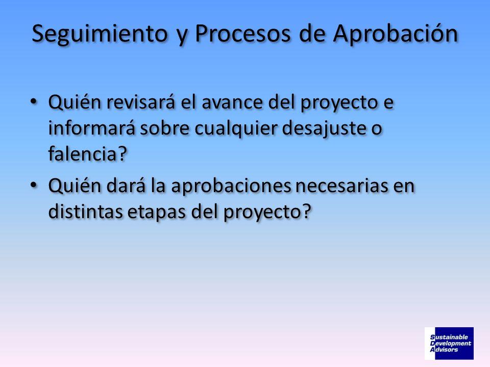 Seguimiento y Procesos de Aprobación Quién revisará el avance del proyecto e informará sobre cualquier desajuste o falencia? Quién dará la aprobacione