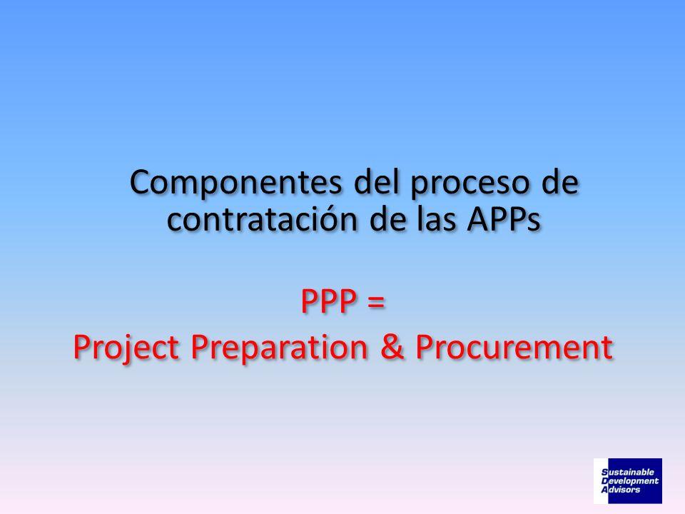 PPP = Project Preparation & Procurement Componentes del proceso de contratación de las APPs