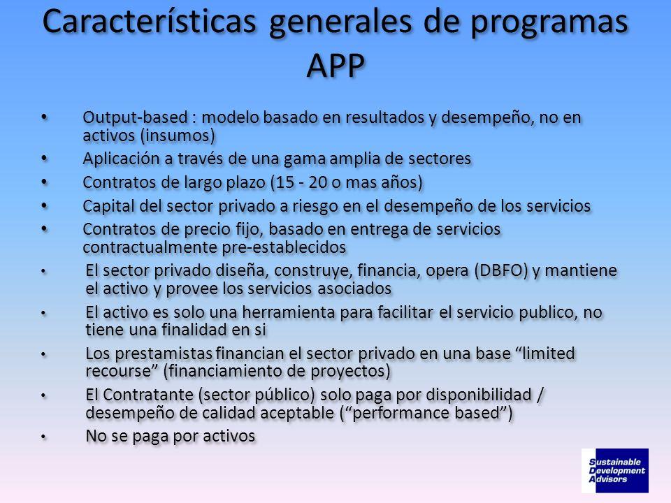 Características generales de programas APP Output-based : modelo basado en resultados y desempeño, no en activos (insumos) Aplicación a través de una
