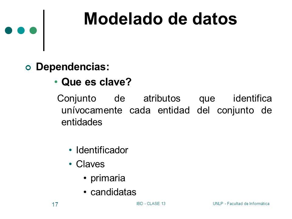 UNLP - Facultad de InformáticaIBD - CLASE 13 17 Modelado de datos Dependencias: Que es clave? Conjunto de atributos que identifica unívocamente cada e