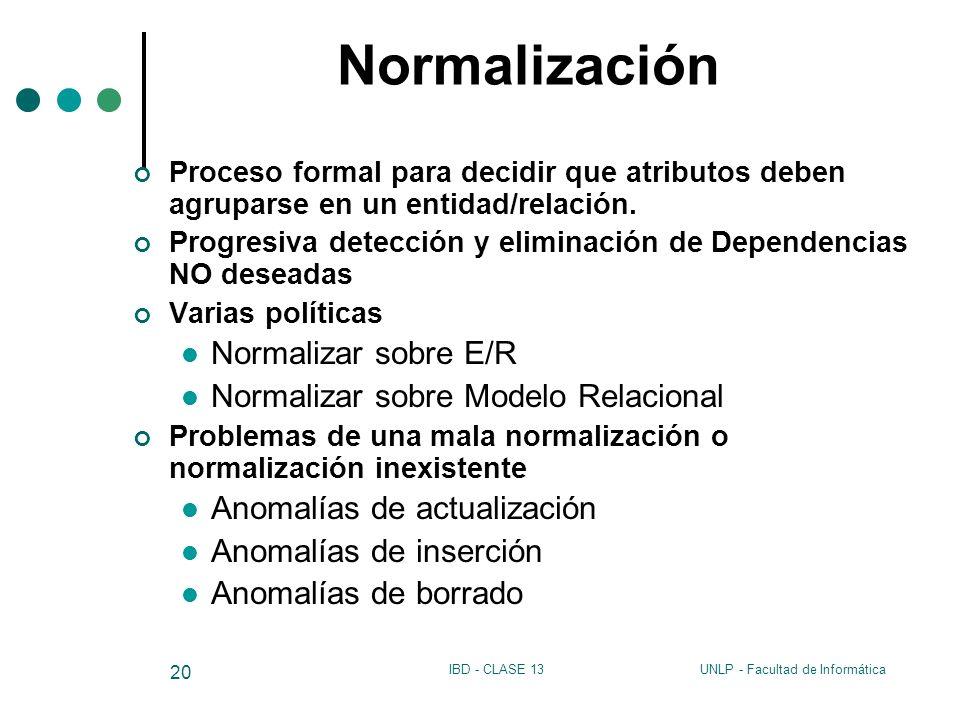 UNLP - Facultad de InformáticaIBD - CLASE 13 20 Normalización Proceso formal para decidir que atributos deben agruparse en un entidad/relación. Progre