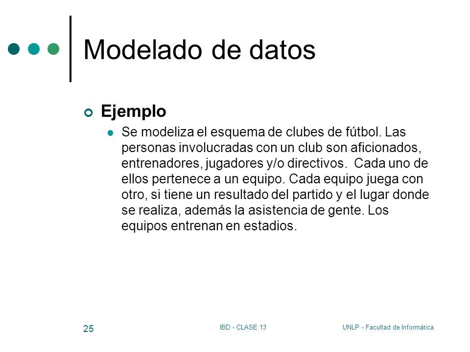 UNLP - Facultad de InformáticaIBD - CLASE 13 25 Modelado de datos Ejemplo Se modeliza el esquema de clubes de fútbol. Las personas involucradas con un