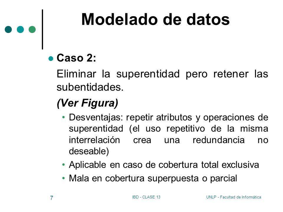 UNLP - Facultad de InformáticaIBD - CLASE 13 7 Modelado de datos Caso 2: Eliminar la superentidad pero retener las subentidades. (Ver Figura) Desventa