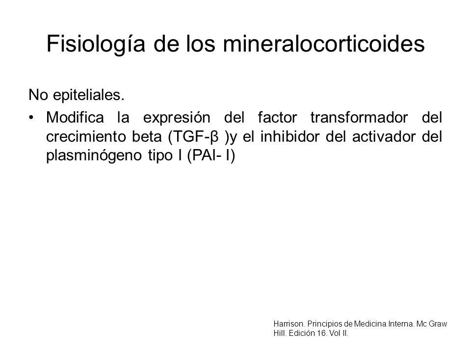 Fisiología de los mineralocorticoides No epiteliales. Modifica la expresión del factor transformador del crecimiento beta (TGF-β )y el inhibidor del a