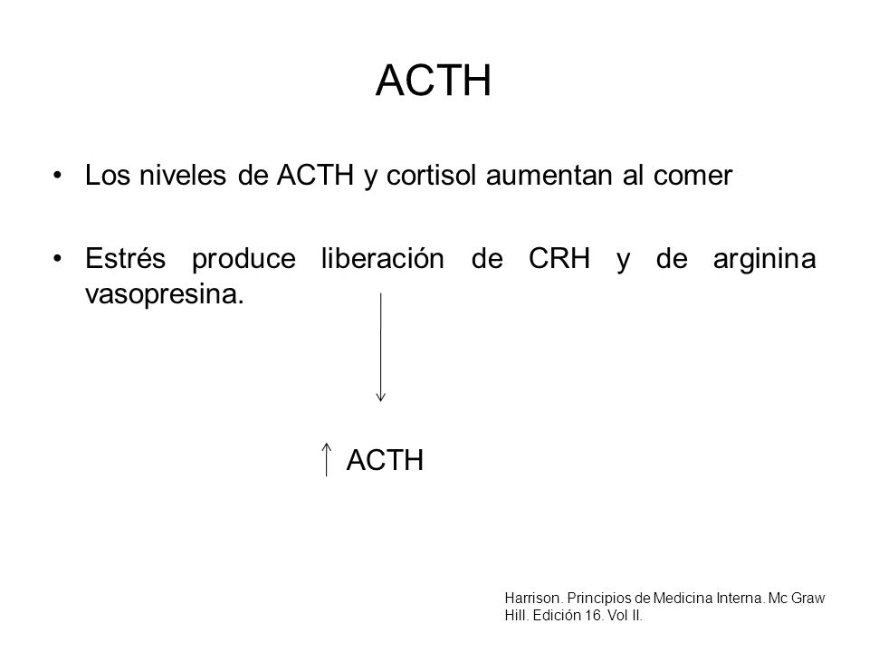 ACTH Los niveles de ACTH y cortisol aumentan al comer Estrés produce liberación de CRH y de arginina vasopresina. ACTH Harrison. Principios de Medicin