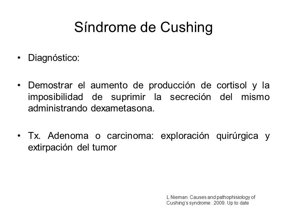 Diagnóstico: Demostrar el aumento de producción de cortisol y la imposibilidad de suprimir la secreción del mismo administrando dexametasona. Tx. Aden