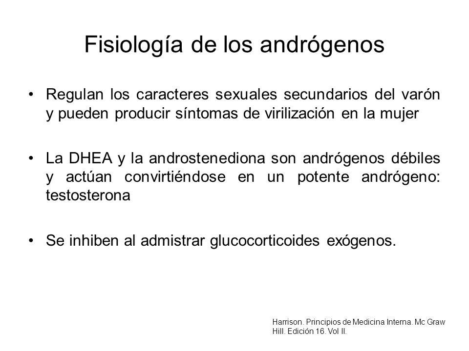 Fisiología de los andrógenos Regulan los caracteres sexuales secundarios del varón y pueden producir síntomas de virilización en la mujer La DHEA y la