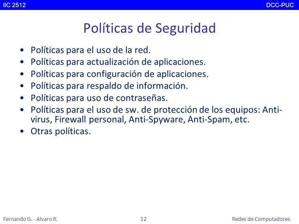 Políticas de Seguridad Políticas para el uso de la red. Políticas para actualización de aplicaciones. Políticas para configuración de aplicaciones. Po