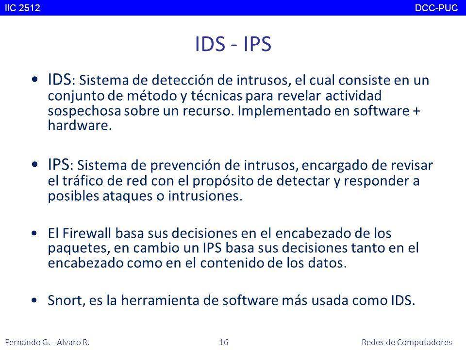 IDS - IPS IDS : Sistema de detección de intrusos, el cual consiste en un conjunto de método y técnicas para revelar actividad sospechosa sobre un recu