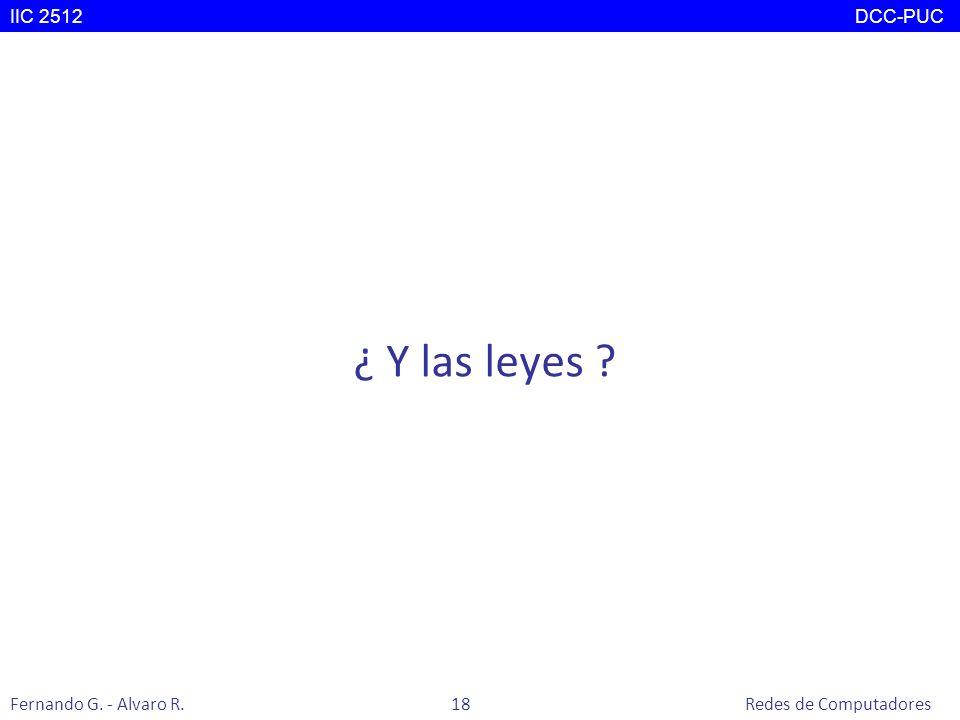 ¿ Y las leyes ? IIC 2512 DCC-PUC Fernando G. - Alvaro R. 18 Redes de Computadores