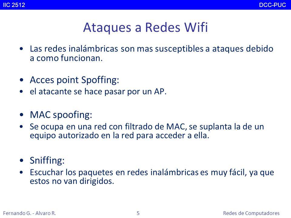 Ataques a Redes Wifi Las redes inalámbricas son mas susceptibles a ataques debido a como funcionan. Acces point Spoffing: el atacante se hace pasar po