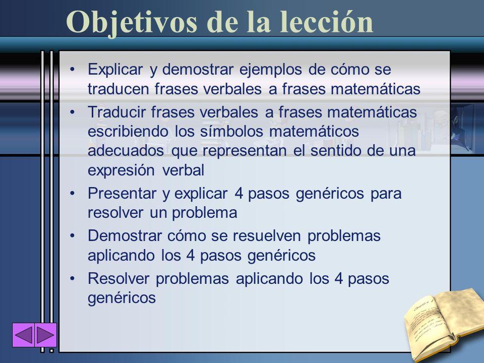 Objetivos de la lección Explicar y demostrar ejemplos de cómo se traducen frases verbales a frases matemáticas Traducir frases verbales a frases matem