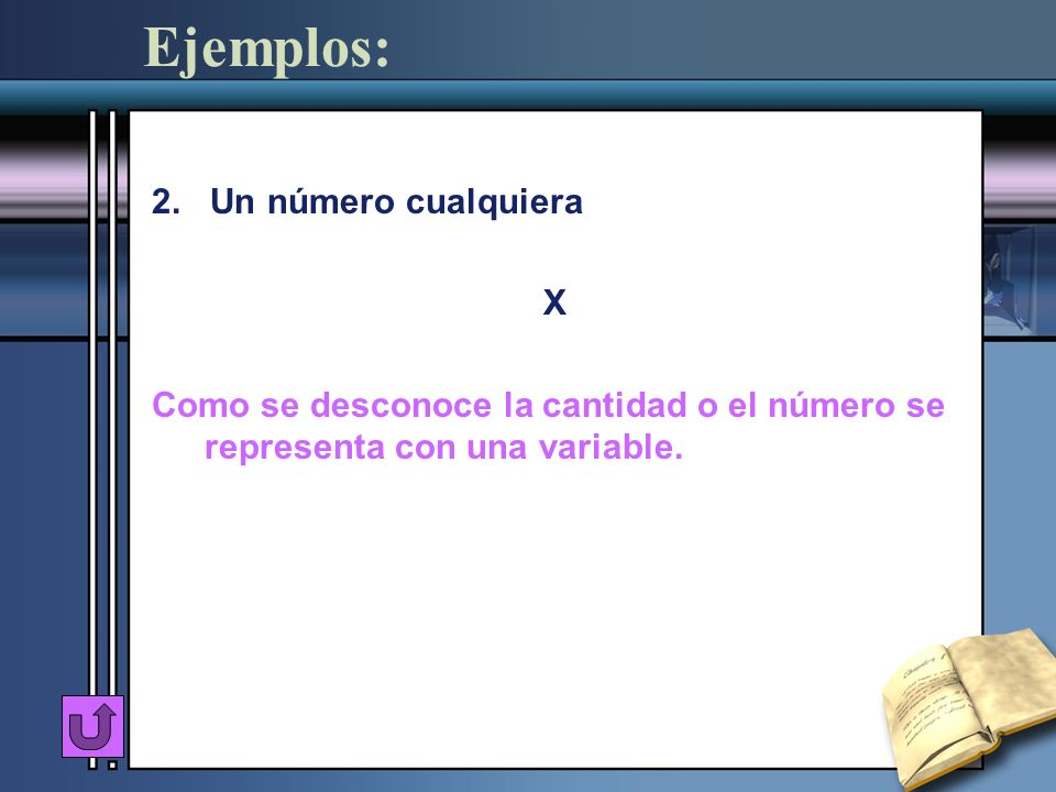 Ejemplos: 2. Un número cualquiera X Como se desconoce la cantidad o el número se representa con una variable.