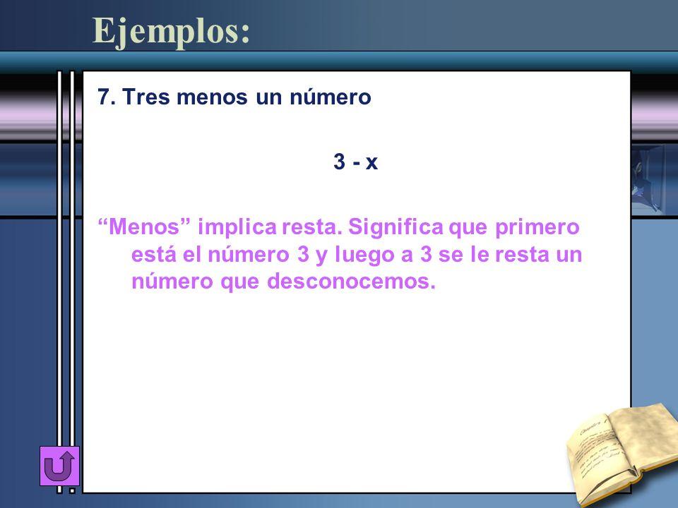 Ejemplos: 7. Tres menos un número 3 - x Menos implica resta. Significa que primero está el número 3 y luego a 3 se le resta un número que desconocemos