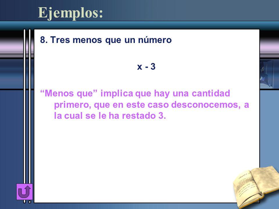 Ejemplos: 8. Tres menos que un número x - 3 Menos que implica que hay una cantidad primero, que en este caso desconocemos, a la cual se le ha restado