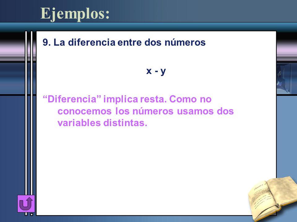 Ejemplos: 9. La diferencia entre dos números x - y Diferencia implica resta. Como no conocemos los números usamos dos variables distintas.