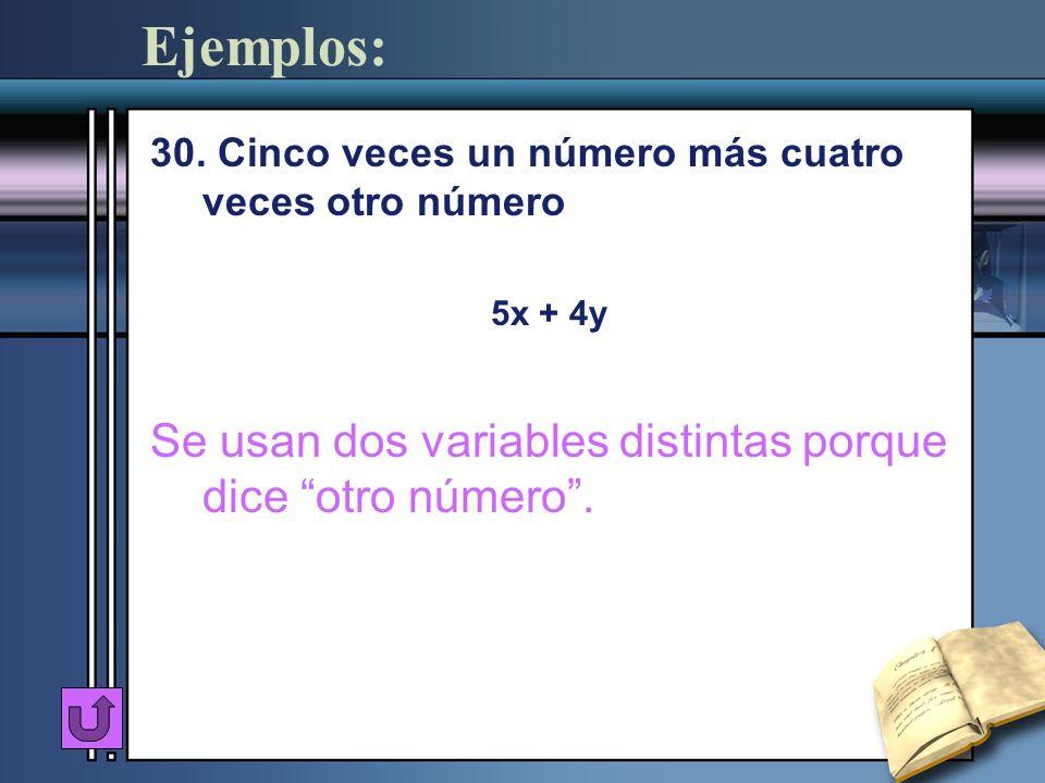 Ejemplos: 30. Cinco veces un número más cuatro veces otro número 5x + 4y Se usan dos variables distintas porque dice otro número.