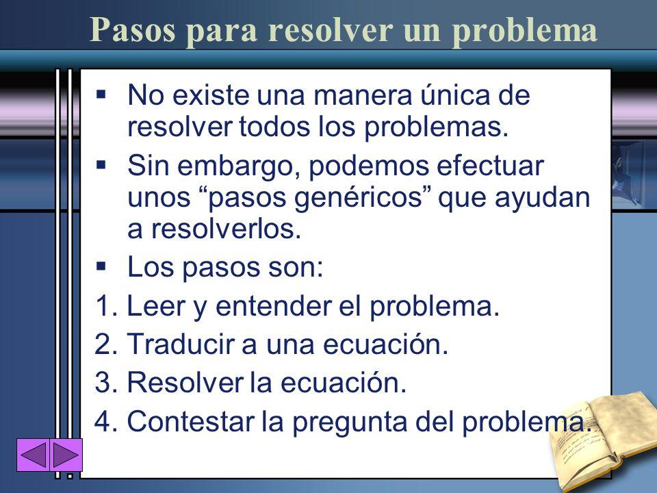 Pasos para resolver un problema No existe una manera única de resolver todos los problemas. Sin embargo, podemos efectuar unos pasos genéricos que ayu