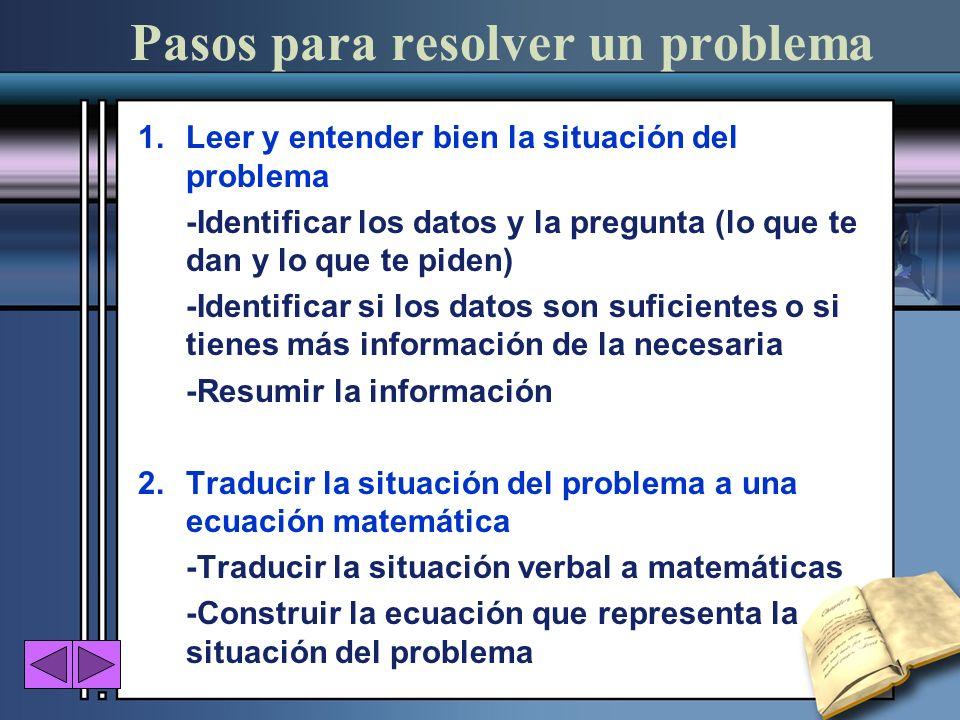 Pasos para resolver un problema 1.Leer y entender bien la situación del problema -Identificar los datos y la pregunta (lo que te dan y lo que te piden