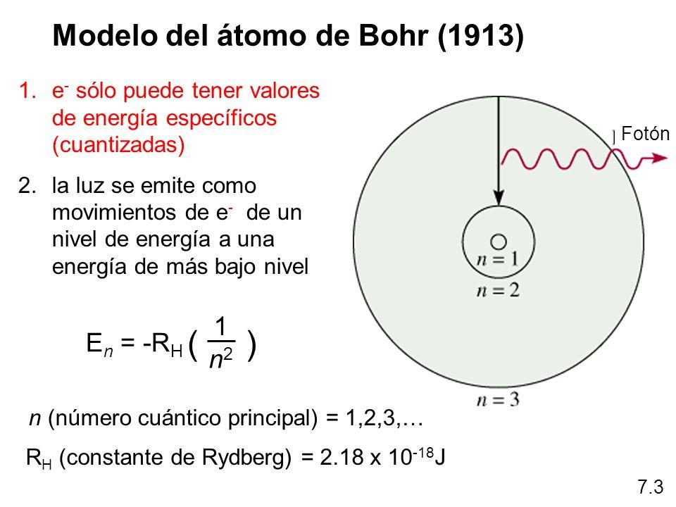 E = h 7.3 La energía radiante que absorbe el átomo hace que su elección pase de un estado de energía más bajo a otro estado de mayor energía