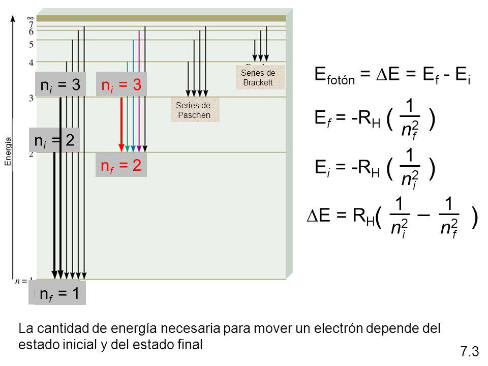 E fotón = 2.18 x 10 -18 J x (1/25 - 1/9) E fotón = E = -1.55 x 10 -19 J = 6.63 x 10 -34 (Js) x 3.00 x 10 8 (m/s)/1.55 x 10 -19 J = 1280 nm Calcule la longitud de onda (en nm) de un fotón emitido por un átomo de hidrógeno durante la transición de su electrón del estado n = 5 al estado n = 3.