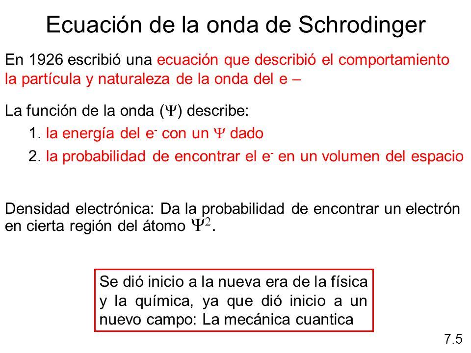 Ecuación de la onda de Schrodinger fn(n, l, m l, m s ) 7.6 Describen la distribución de los electrones en los átomos Son 4 Principal Momento angular Magnético Espín Describen orbitales Identifican electrones Comportamiento del electrón