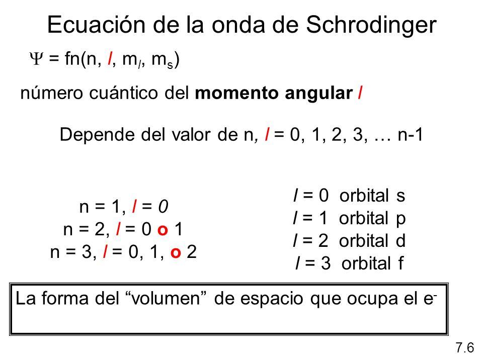 l = 0 (orbitales s) l = 1 (orbitales p) 7.6