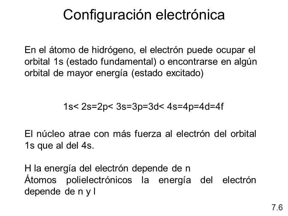 Configuración electrónica 7.6 La manera en que están distribuidos los electrones entre los distintos orbitales atómicos Se pueden utilizar dos sistemas Sistema nl x Diagrama de orbitáles