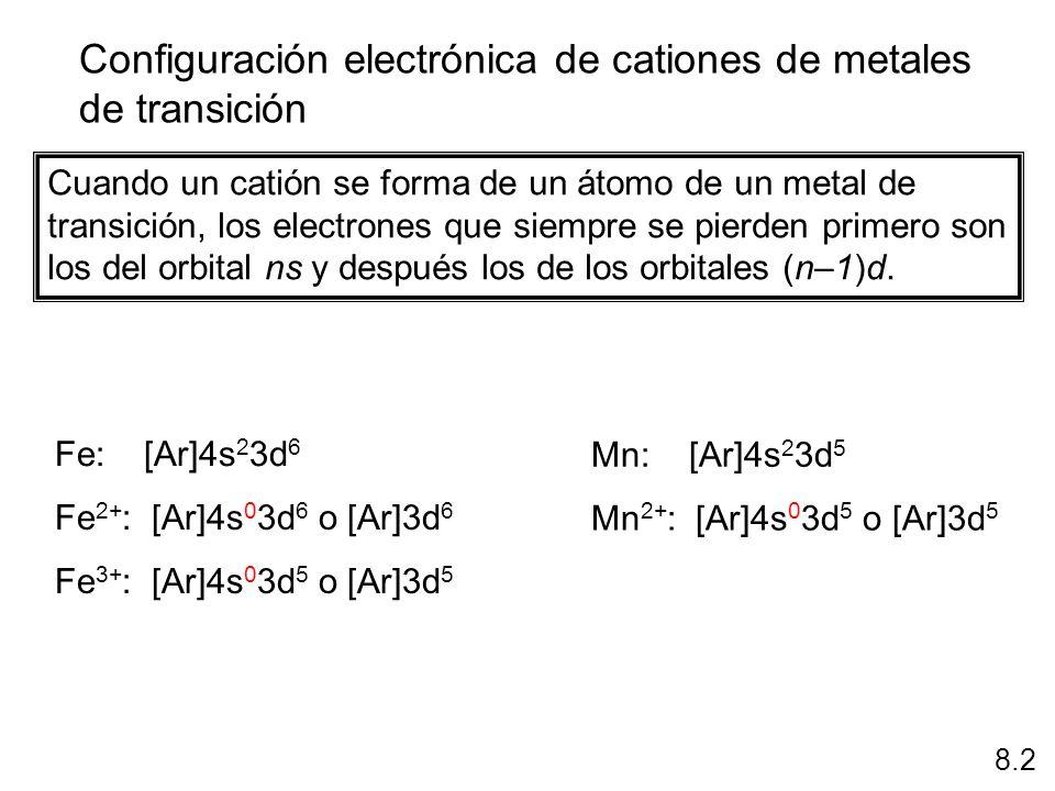 Configuración electrónica de cationes de metales de transición 8.2 Cuando un catión se forma de un átomo de un metal de transición, los electrones que