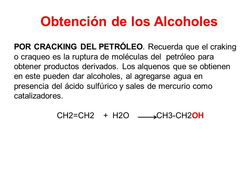 Obtención de los Alcoholes POR CRACKING DEL PETRÓLEO. Recuerda que el craking o craqueo es la ruptura de moléculas del petróleo para obtener productos