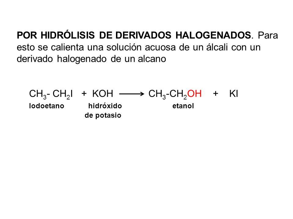 POR HIDRÓLISIS DE DERIVADOS HALOGENADOS. Para esto se calienta una solución acuosa de un álcali con un derivado halogenado de un alcano CH 3 - CH 2 I